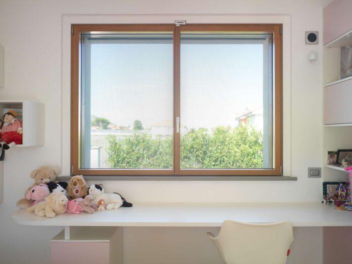 Vue de la fenêtre avec charnières visibles