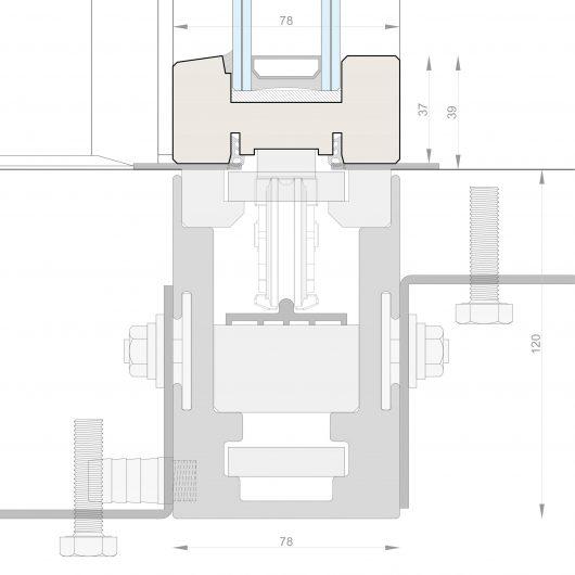 Dessin technique du guide au sol encastré de le porte coulissante Skyline