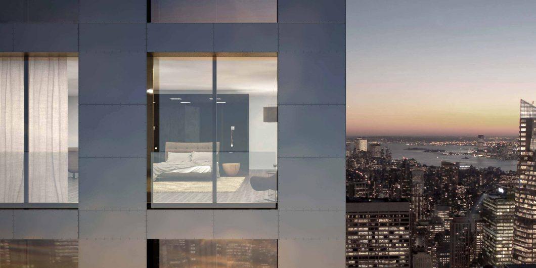 Vue d'une façade de gratte-ciel avec une fenêtre française à double vantail effet vitrum