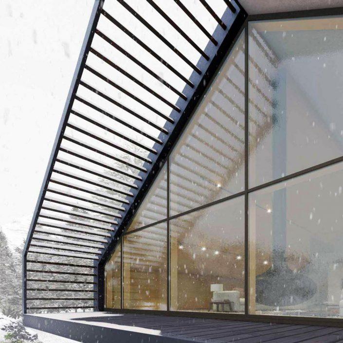 Vue extérieure d'un mur de verre avec un mur-rideau en bois revêtu de bronze