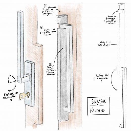 Progetto del nuovo maniglione per alzanti scorrevoli Skyline
