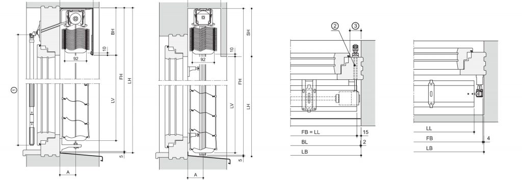 spaccato tecnico frangisole con cordina in alluminio
