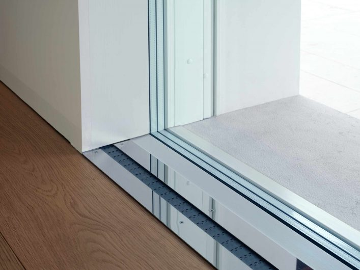 Detail of the Skyline Sliding floor guide with built-in fixed