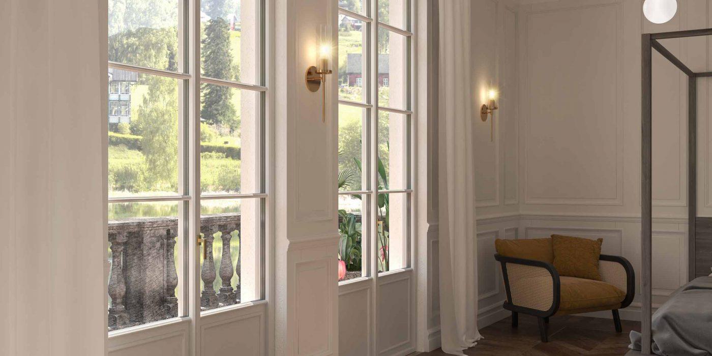 Vue d'une chambre avec portes en bois laqué blanc Skyline Classic