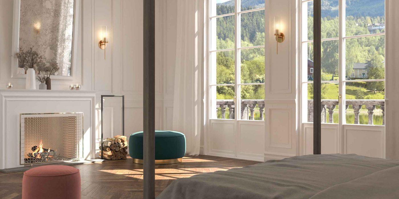 Vue générale d'une chambre avec portes-fenêtres Skyline Classic avec croisillons