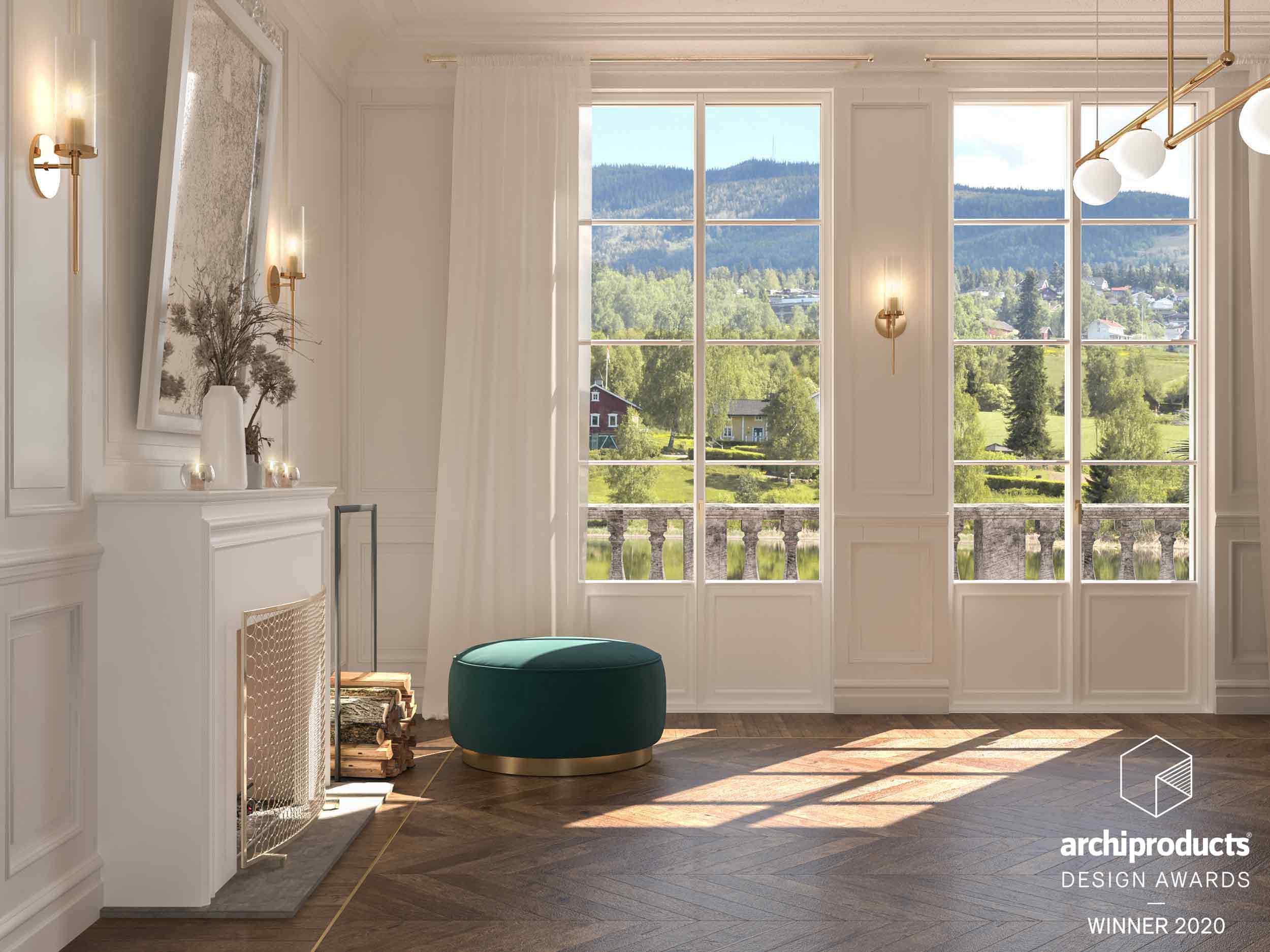 Vue d'un intérieur avec portes-fenêtres à deux vantaux Skyline Classic avec croisillons