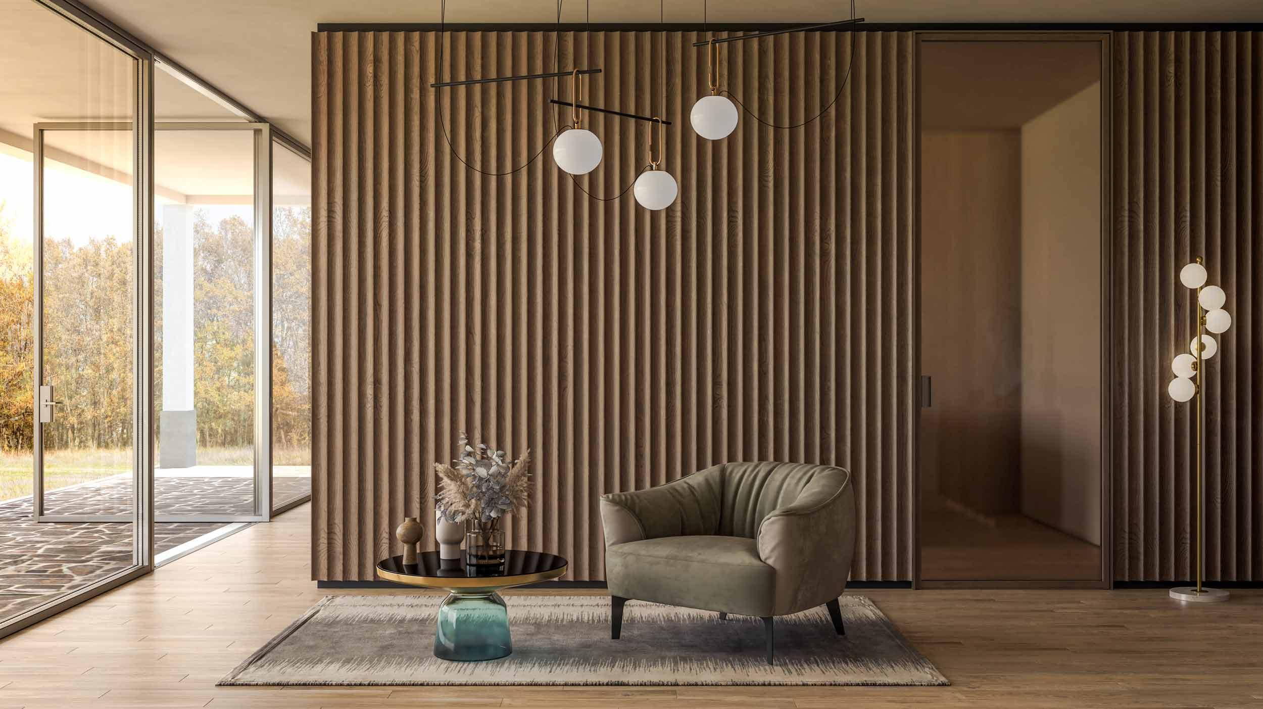Vue de la boiserie en bois et de la porte intérieure avec un cadre métallique minimal
