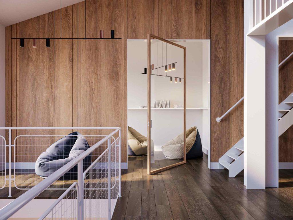 Vue de la porte Lady avec cadre en bois et verre clair