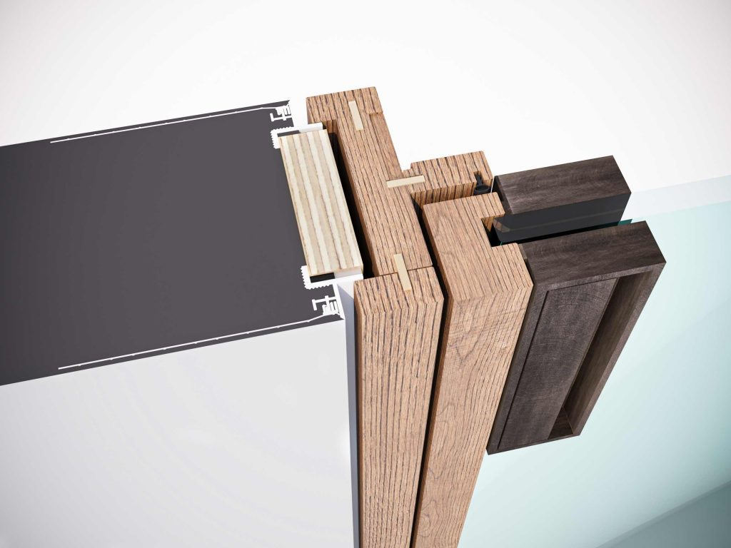 Détail technique du cadre classique en bois à fleur de mur de la porte battante Lady