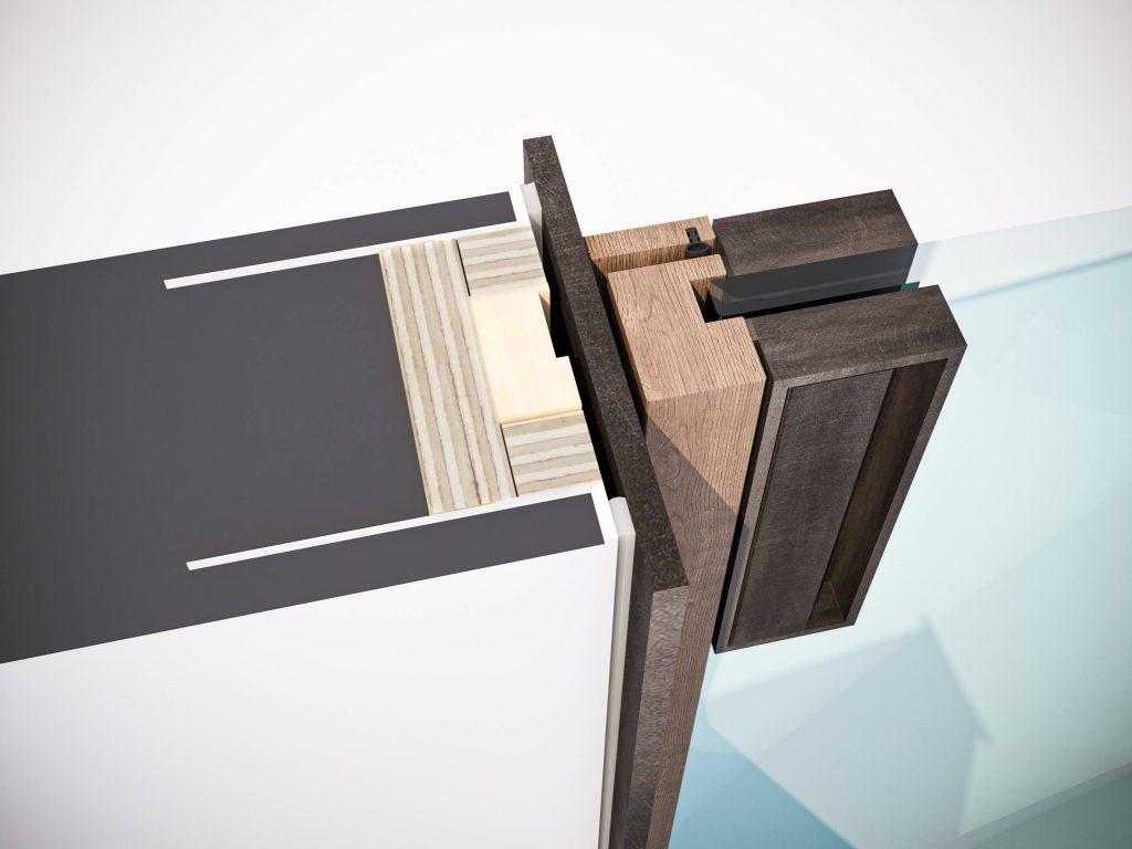 Détail technique du cadre minimal en aluminium de la porte battante Lady