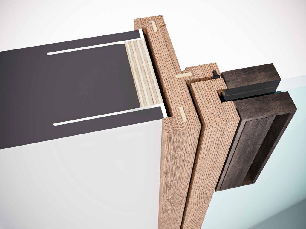 Détail technique du cadre avec parcloses en bois de la porte battante Lady