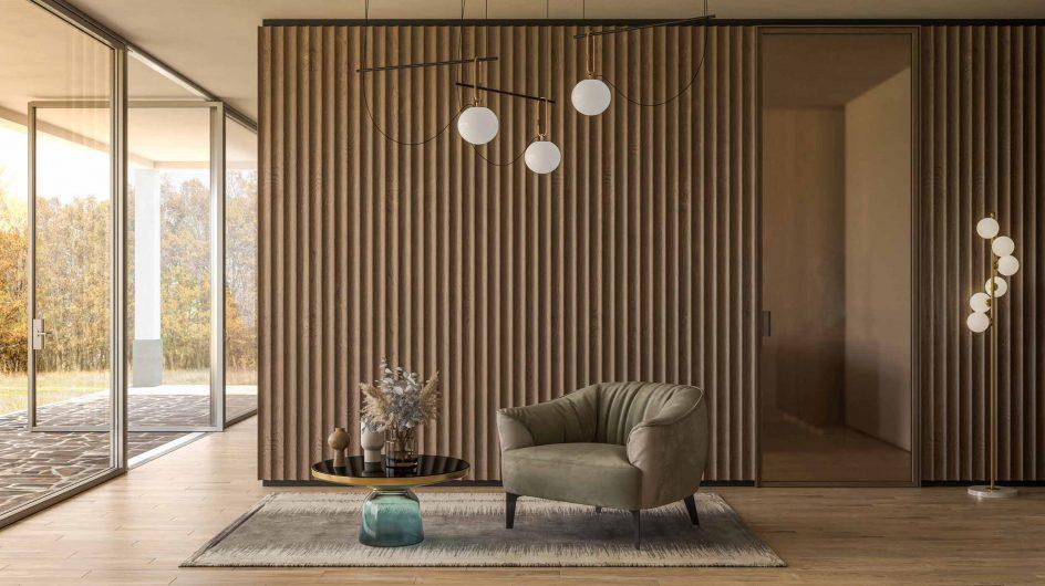 Porte intérieure Lady avec cadre minimal et verre bronze