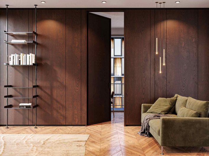 Porte battante intérieure Lady store en chêne teinté foncé