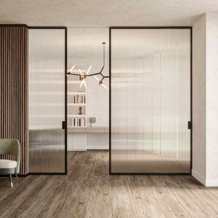 Porte coulissante Lady en acajou à lamelles verticales et verre transparent