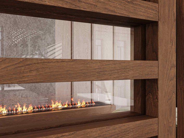 Détail de la porte coulissante Lady en teck à lamelles horizontales et verre transparent