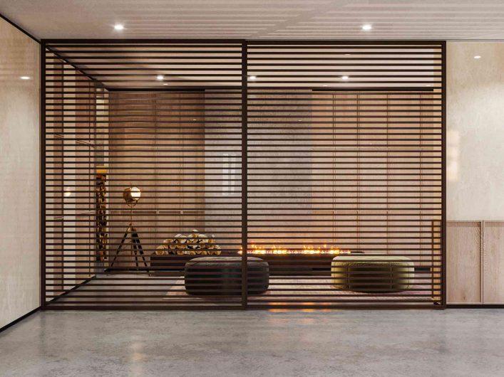 Porte coulissante Lady en teck à lamelles horizontales et verre transparent